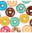 colorful glazed donuts background vector image vector image
