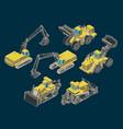 construction heavy equipment isometric set vector image vector image