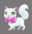 cute cartoon fluffy white cat icon vector image vector image