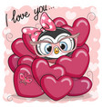 cute cartoon penguin in hearts vector image vector image