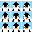 Cute penguin cartoon emotion faces vector image vector image