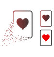 fractured dot halftone hearts gambling card icon vector image vector image