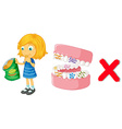Girl eating chips and bacteria in mouth vector image vector image
