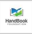 hand book logo design stock charity book vector image vector image