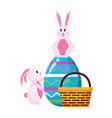 happy easter rabbits vector image vector image