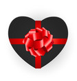 heart shaped gift box with bow vector image vector image