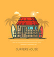 house with surfboards surfer home with palms vector image vector image