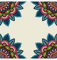 Indian doodle floral corners frame vector image