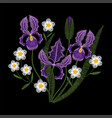 iris flowers with chamomile embroidery vector image vector image