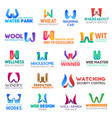 letter w corporate identity business icons vector image vector image
