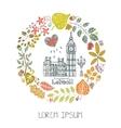 London landmarkAutumn leaves wreathBig Ben vector image vector image