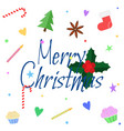 merry christmas greeting card in flat style xmas vector image vector image