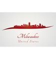 Milwaukee skyline in red vector image vector image