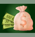 money bag with dollars earn in casino vector image vector image