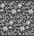monochrome pattern with cute doodle flowers vector image vector image