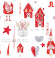 nice watercolor christmas pattern vector image vector image