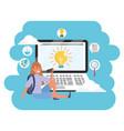 online education millennial student laptop splash vector image