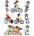 People biking vector image