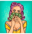 pop art girl with cash vector image vector image
