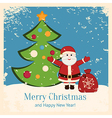 Retro Christmas card with happy Santa and fir vector image vector image
