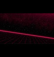 retrowave slope red laser perspective grid with vector image
