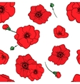 seamless pattern red poppies vector image