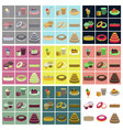 set icons in flat design cakes desserts vector image vector image