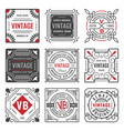 set nine stylish line insignias decorative vector image