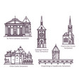 set switzerland architecture buildings in line vector image