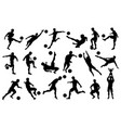 silhouettes soccer players in various poses vector image