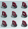social network color isometric icons vector image vector image