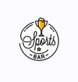 sports bar logo round linear sports trophy cup vector image