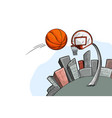 streetball urban playground ball city and basket vector image