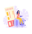 travel vacation trip ticket suitcase flat vector image