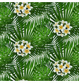 tropical flowers and leaves seamless pattern vector image vector image