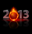 twenty thirteen year fire ball on black vector image vector image