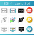 videography icons set vector image vector image