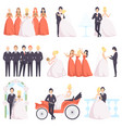 wedding couple celebrating with their friends set vector image vector image