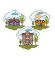 white background with set of rural houses scenes vector image