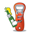 with beer opener bottle cap isolated on mascot vector image