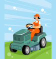 woman on a tractor vector image vector image