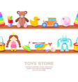 wooden shelves with different kids toys isolated vector image vector image