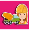 worker mixer cement machinery vector image vector image