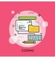 Program code window keyboard pencil ruler and vector image