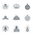 2018 new year logo set simple style vector image vector image