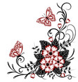 beautiful floral background with butterflies vector image vector image