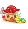 Beautiful mushroom house and cute caterpillar vector image vector image