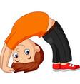 boy practicing upward bow yoga pose vector image