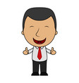 cartoon happy businessman making thumbs up sign vector image vector image