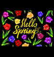 Chalk spring template Hello spring Spring blossoms vector image vector image